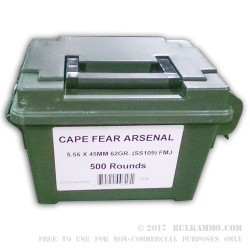 500  Rounds of 5.56x45 Ammo by Cape Fear - 62gr FMJ SS109 Ammo Can