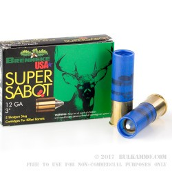 "5 Rounds of 12ga Ammo by Brenneke Super Sabot - 3"" 1 1/8 ounce Sabot Slug"