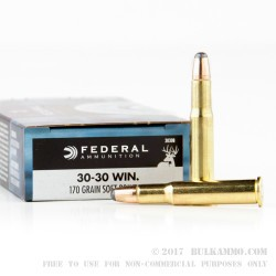 200 Rounds of 30-30 Win Ammo by Federal - 170gr SP