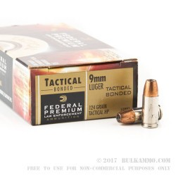 50 Rounds of 9mm Ammo by Federal - 124gr JHP