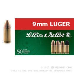 50 Rounds of 9mm Ammo by Sellier & Bellot - 115gr FMJ