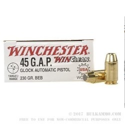 50 Rounds of .45 GAP Ammo by Winchester - 230gr BEB