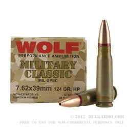 500  Rounds of 7.62x39mm Ammo by Wolf - 124gr HP