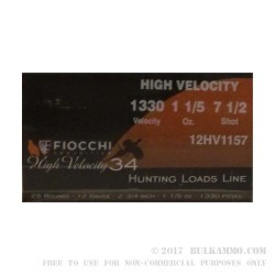 """25 Rounds of 12ga Ammo by Fiocchi High Velocity Hunting - 2-3/4"""" 1-1/5 ounce #7-1/2 shot"""