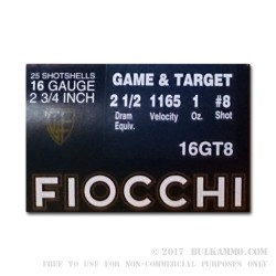 250 Rounds of 16ga Ammo by Fiocchi - 1 ounce #8 shot