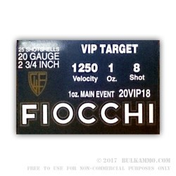 250 Rounds of 20ga Ammo by Fiocchi - 1 ounce #8 shot