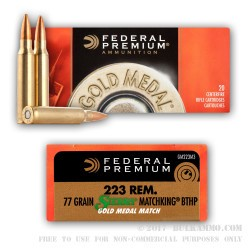 200 Rounds of .223 Ammo by Federal Sierra Match King - 77gr HPBT