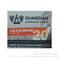 640 Rounds of .308 Win Ammo by Guardian Ammunition - 147gr FMJ