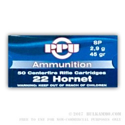 50 Rounds of .22 Hornet Ammo by Prvi Partizan - 45 gr SP