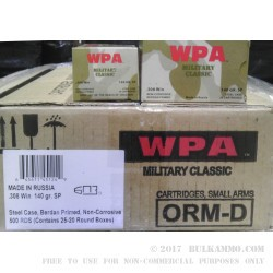 20 Rounds of .308 Win Ammo by Wolf - 140gr SP