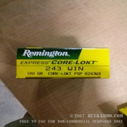 20 Rounds of .243 Win Ammo by Remington - 100gr PSP