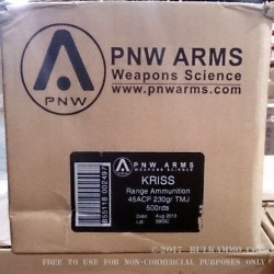 500 Rounds of .45 ACP Ammo by PNW Kriss Vector - 230gr TMJ