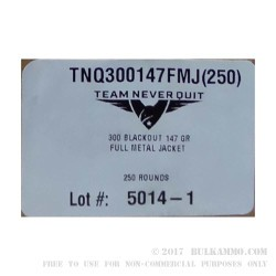 250 Rounds of .300 AAC Blackout Ammo by Team Never Quit - 147gr FMJ