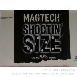 300 Rounds of .38 Spl Ammo by Magtech Shootin' Size - 158gr FMJFN