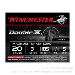 10 Rounds of 20ga Ammo by Winchester Double X Turkey - 1 1/4 ounce #5 shot