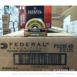 5 Rounds of 20ga Ammo by Federal Premium Personal Defense -  #4 Buck