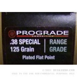 50 Rounds of .38 Spl Ammo by ProGrade Ammunition - 125gr PFP