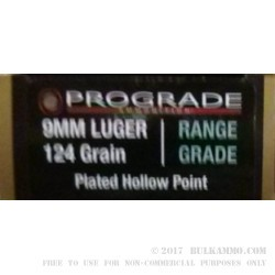 500 Rounds of 9mm Ammo by ProGrade Ammunition - 124gr CPHP
