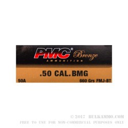 200 Rounds of .50 BMG Ammo by PMC - 660 gr FMJBT