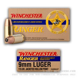 50 Rounds of 9mm Ammo by Winchester - 115gr JHP