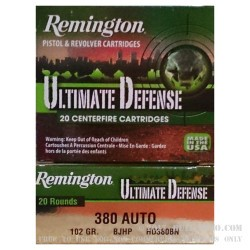 20 Rounds of .380 ACP Ammo by Remington Ultimate Defense - 102 gr JHP