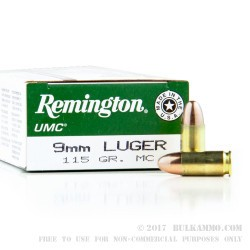 50 Rounds of 9mm Ammo by Remington - 115gr MC