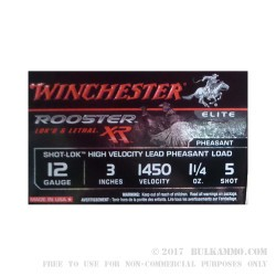 "15 Rounds of 12ga Ammo by Winchester Rooster RX - 3"" 1-1/4 ounce #5 Shot"