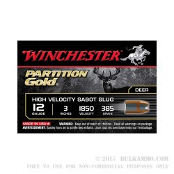 "5 Rounds of 12ga Ammo by Winchester Supreme Partition Gold - 3"" 385gr Sabot Slug"