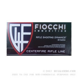 50 Rounds of .30 Carbine Ammo by Fiocchi Shooting Dynamics- 110gr FMJBT
