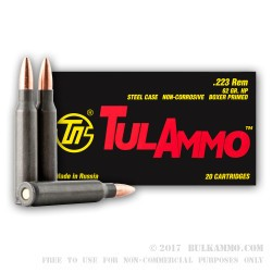 20 Rounds of .223 Ammo by Tula - 62gr HP
