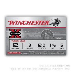 "100 Rounds of 12ga Ammo by Winchester Super-X Turkey - 3"" 1-7/8 ounce #5 shot"