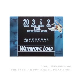 """25 Rounds of 20ga Ammo by Federal Speed-Shok Steel - 3"""" 7/8 ounce #2 Shot"""