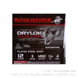 25 Rounds of 12ga Ammo by Winchester Drylok Super Steel High Velocity - 1 1/4 ounce #4 shot