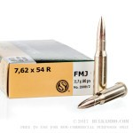 20 Rounds of 7.62x54r Ammo by Sellier & Bellot - 180gr FMJ