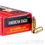 50 Rounds of .38 Super Ammo by Federal American Eagle - 115gr JHP