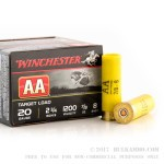 250 Rounds of 20ga Ammo by Winchester AA Target - 7/8 ounce #8 shot