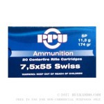 20 Rounds of 7.5x55mm Swiss Ammo by Prvi Partizan - 174gr SP