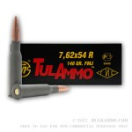 500 Rounds of 7.62x54r Ammo by Tula - 148gr FMJ