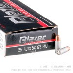 50 Rounds of .25 ACP Ammo by CCI - 50gr FMJ