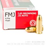 50 Rounds of .32 ACP Ammo by Sellier & Bellot - 73gr FMJ