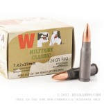 20 Rounds of 7.62x39mm Ammo by Wolf WPA Military Classic - 124gr FMJ