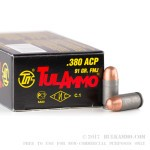 1000 Rounds of .380 ACP Ammo by Tula - 91gr FMJ