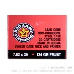 1000 Rounds of 7.62x39mm Ammo by Red Army Standard - 124gr FMJBT