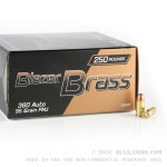 250 Rounds of .380 ACP Ammo by Blazer Brass - 95gr FMJ