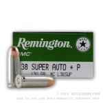 50 Rounds of .38 Super +P Ammo by Remington UMC - 130gr MC