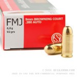 50 Rounds of .380 ACP Ammo by Sellier & Bellot - 92gr FMJ