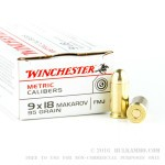 50 Rounds of 9x18mm Makarov Ammo by Winchester - 95gr FMJ