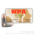 800 Rounds of 9mm Ammo by Wolf - 115gr FMJ