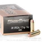 1000 Rounds of .38 Spl Ammo by Blazer Brass - 125gr FMJ