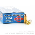 50 Rounds of 9x18mm Makarov Ammo by Prvi Partizan - 93gr FMJ
